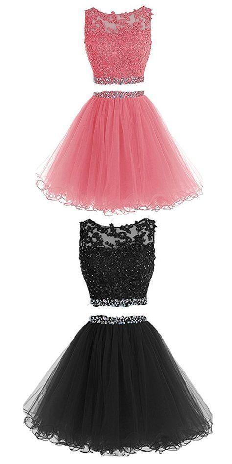 Knee Length Prom Dress, Short Prom Dress, Two Piece Prom Dresses
