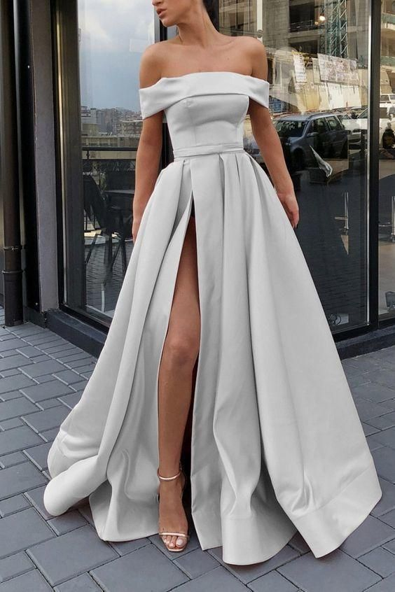 silver evening gowns,long prom dresses,sexy off shoulder dress