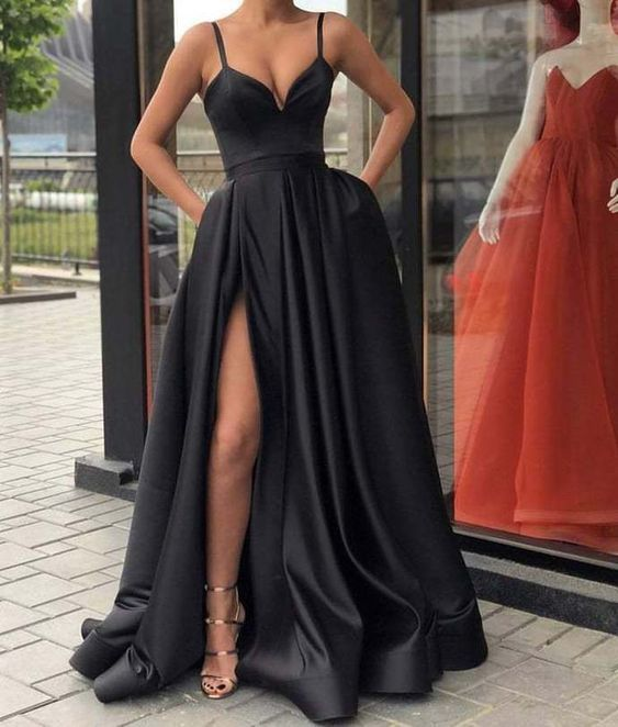 Black Evening Dresses Satin Long ,Split Evening Dresses