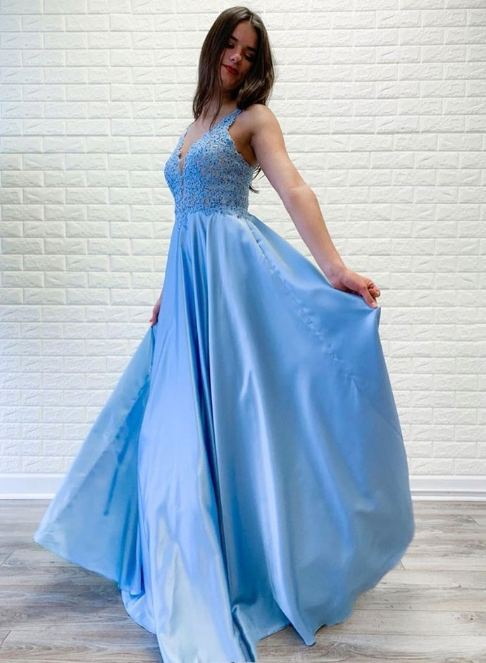 Bright Blue Lace Satin Open Back Long Halter Prom Dress, Formal Dress