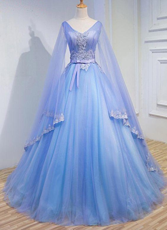 Light Blue Tulle V Neck Long Sleeve Lace Applique Prom Dress For Teen