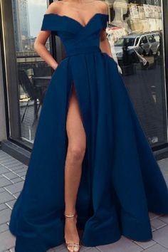 navy blue prom dresses long satin split evening gown off the shoulder