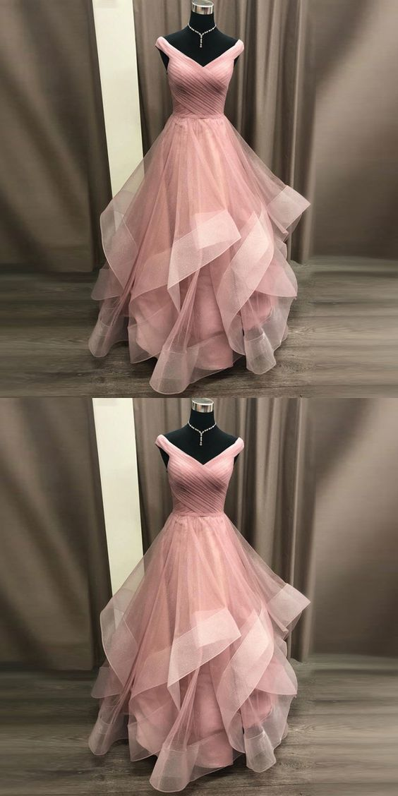 Princess Prom Dress Off The Shoulder Formal Gown For Evening Layered Tulle Skirt