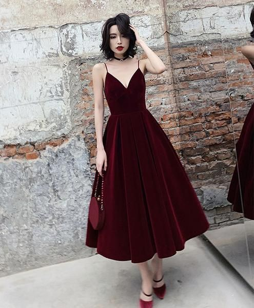 Simple burgundy tea Length prom dress, burgundy bridesmaid dress