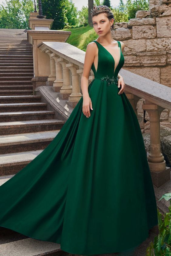 Graceful Tulle & Satin V-neck Neckline Floor-length A-line Evening Dresses With