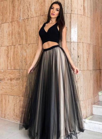 Black Tulle Long Two Pieces Evening Dress, Prom Dress