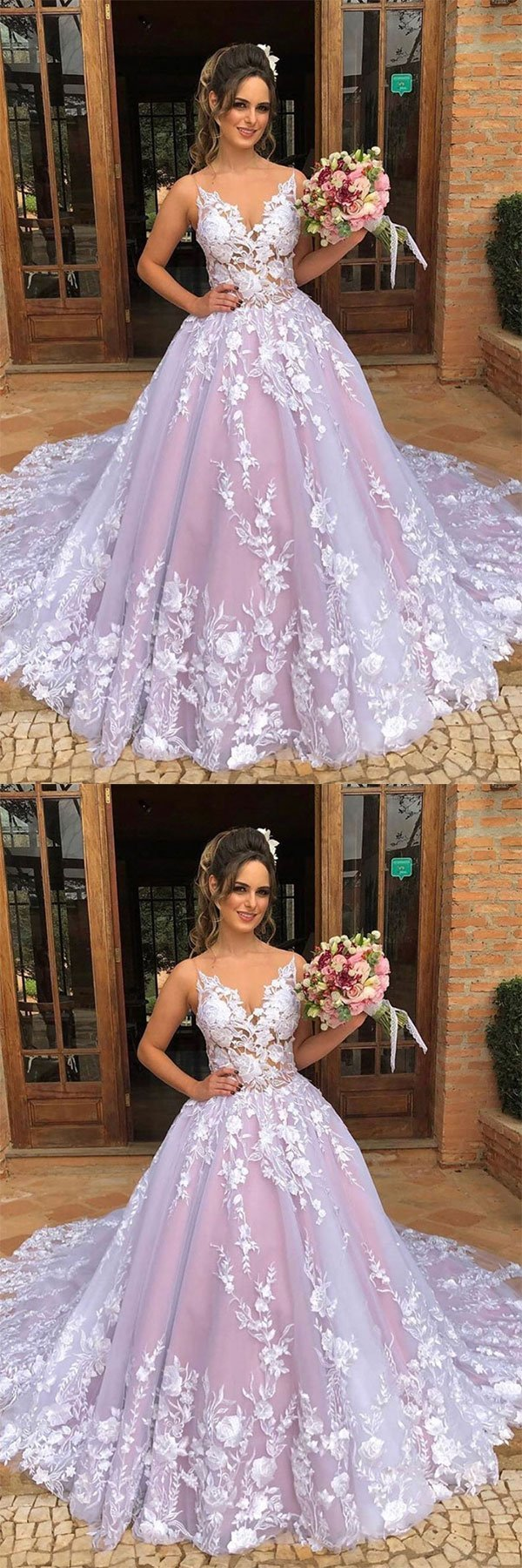 Pink Tulle Lace V Neck Long Lace Up Prom Gown, Sweet 16 Prom Dress