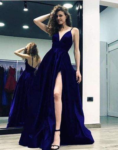 A-line Spaghetti straps Satin Gowns With Plunge V-neckline Prom Dress