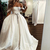 White Satin Off Shoulder Long Senior Prom Dress, Evening Dress With Beading