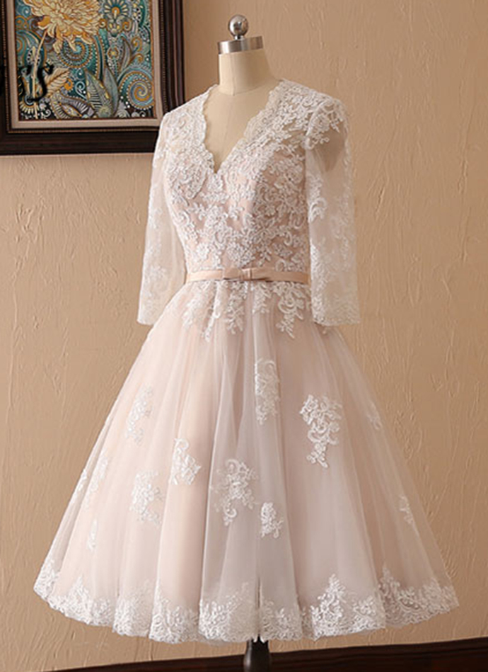 Creamy Tulle Lace Short Prom Dress, Bridesmaid Dress With Sleeves