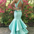 Bright Green Open Back Two Pieces Long Mermaid Embroidery Senior Prom Dress