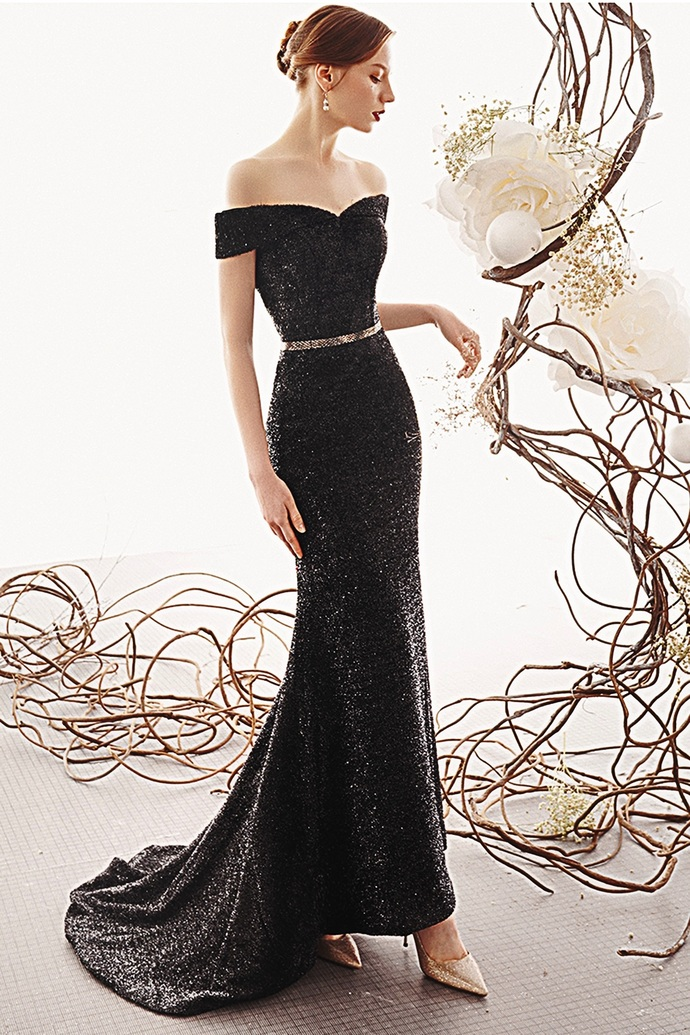 Black Bling Bling Off Shoulder Sweep Train Evening Dress With Sleeves