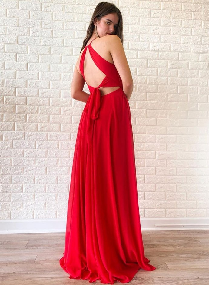 Simple Red Chiffon O-neck Strapless Long Open Back Prom Dress With Slit