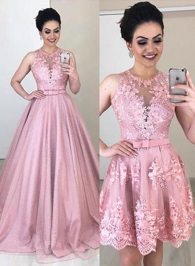 Pink Lace Removable Skirt Long A Line Formal Prom Dress With Bowknot