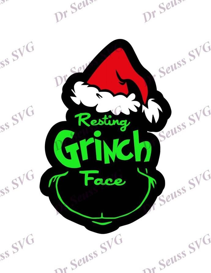 Resting Grinch Face Dr Seuss SVG 5, svg, dxf, Cricut, Silhouette Cut File,