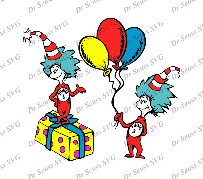 Cat in The Hat Thing 1 and Thing 2 SVG 1, svg, dxf, Cricut, Silhouette Cut File,