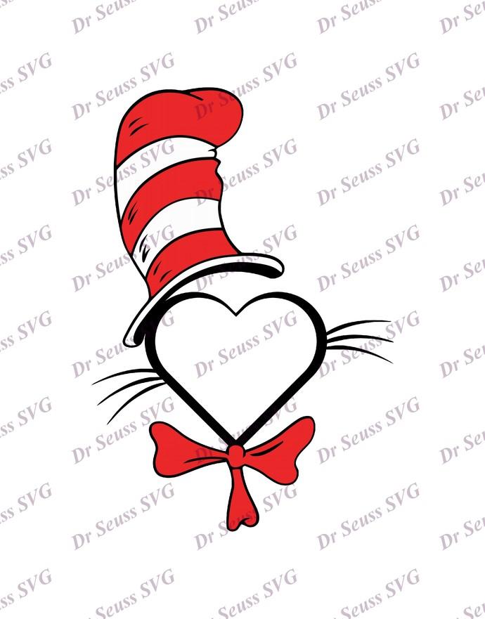 Dr Seuss Cat in The Hat Monogram SVG 3, svg, dxf, Cricut, Silhouette Cut File,