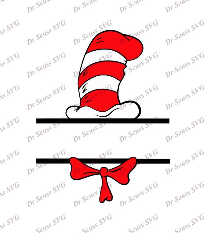 Dr Seuss Cat in The Hat Split SVG, svg, dxf, Cricut, Silhouette Cut File,