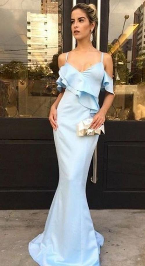 Mermaid evening dress Spaghetti Straps party dress Light Blue prom dress Satin