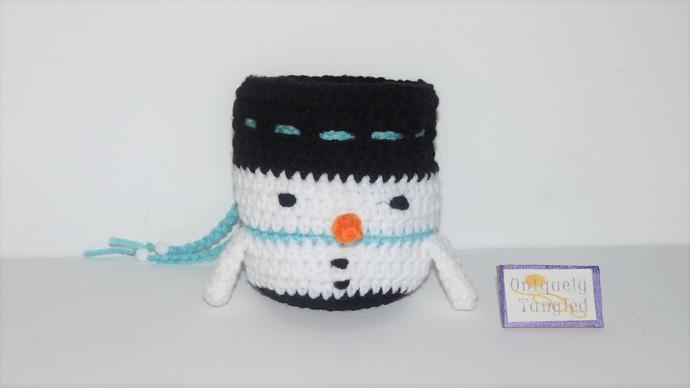 Snowman Pouch/ Drawstring Bag- Crochet Pattern PDF