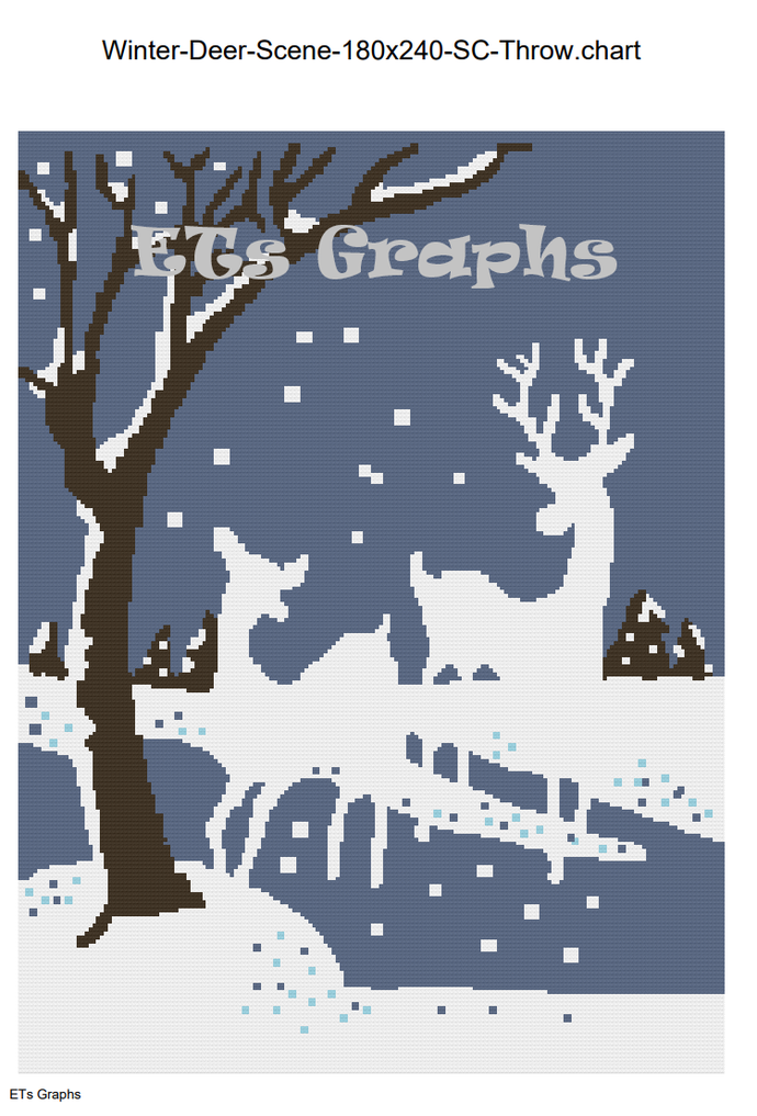 Winter Deer Scene SC includes Graph with Written Color Chart