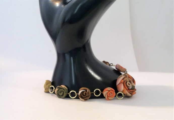 Flower Bracelet rustic orange hand formed flowers polymer clay holiday gift