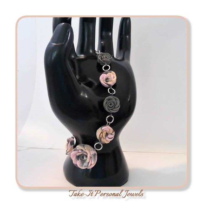 pink flower hand formed polymer clay holiday gift bracelet