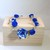 Deep blue flower bracelet holiday jewelry polymer clay handmade