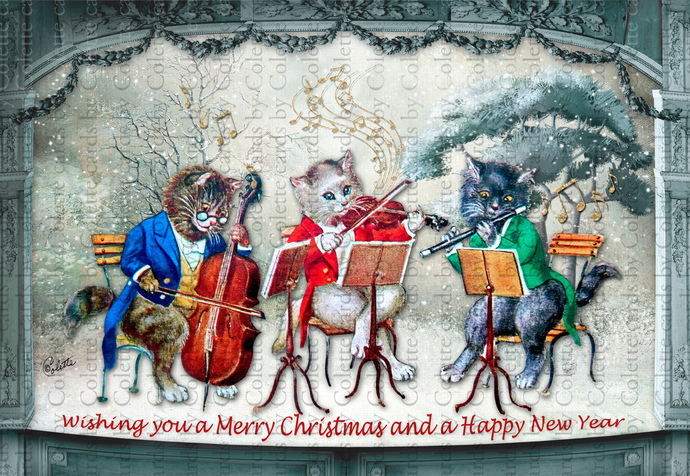 Christmas Cats Musicians Digital Collage Greeting Card2083