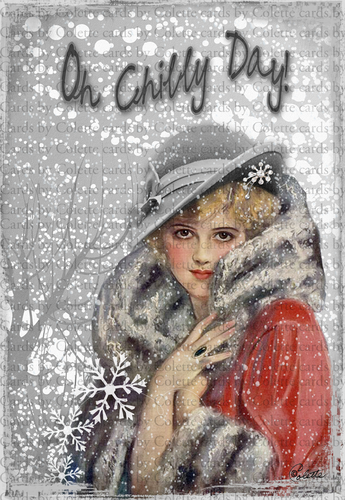 Christmas Lady Chilly Day Digital Collage Greeting Card2053