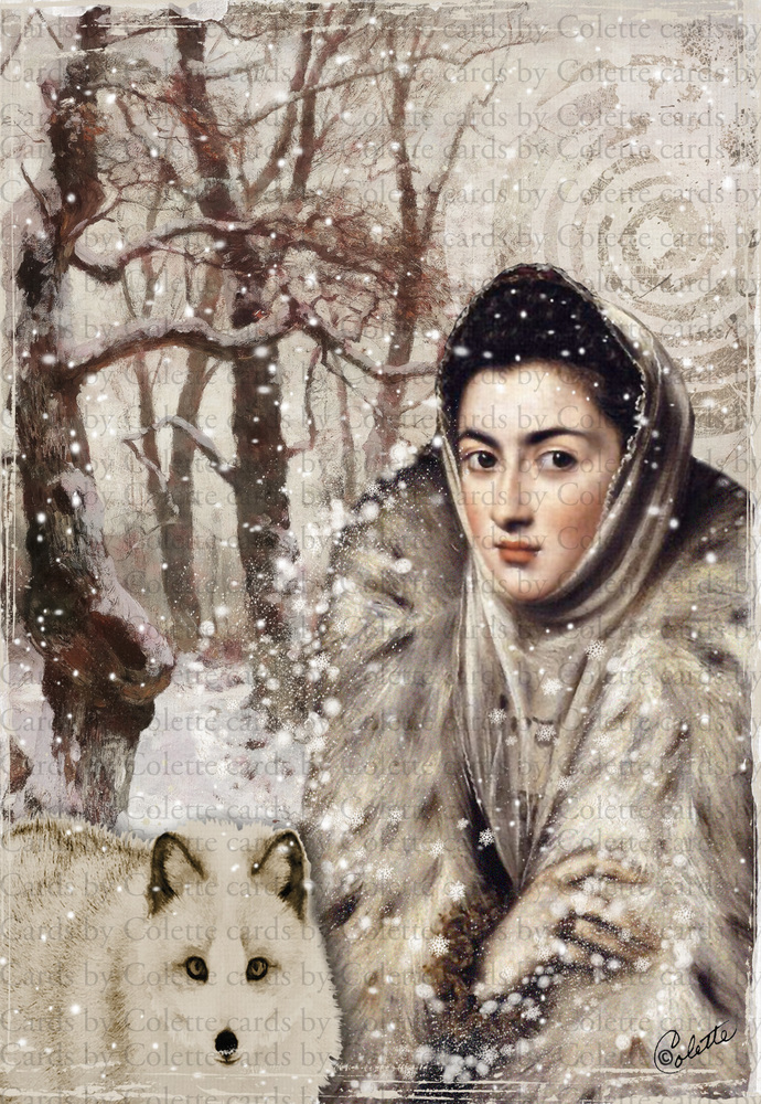 Christmas Lady and Fox Digital Collage Greeting Card2059
