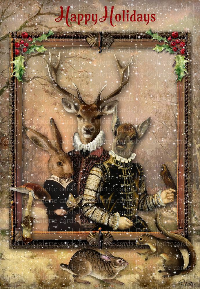 Christmas Woodland Animals Digital Collage Greeting Card398a