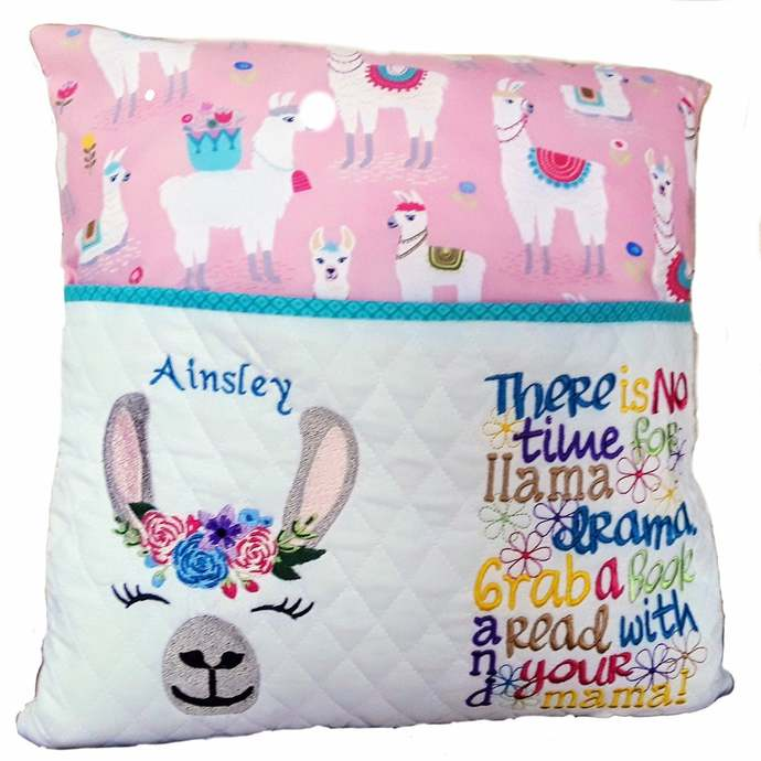 Personalized Llama Reading Pillow, Book Pillow for Girl, Decorative Pillow