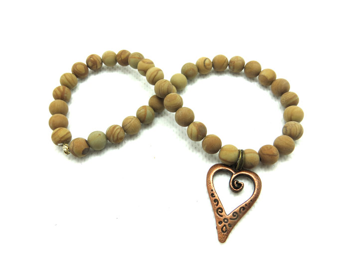 Matte grain stone anklet with copper heart