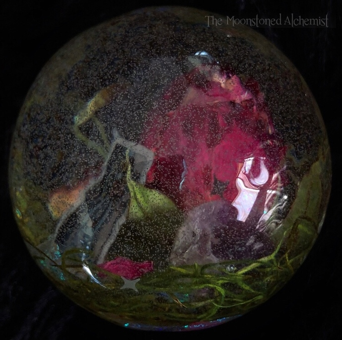 SALE Tarot Scrying Crystal Sphere with Amethyst and Botanical Infusions