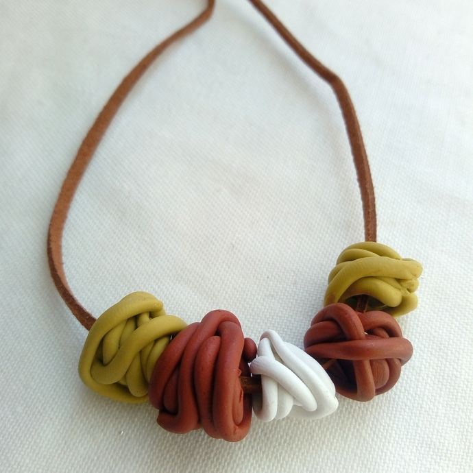 Green Bronze and White Large Squiggle Bead Necklace