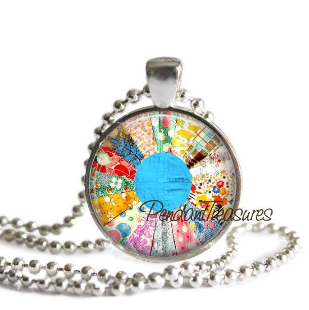 QUILT Glass Necklace Pendant Art Jewelry, Vintage Pastel Quilt Necklace, Quilter