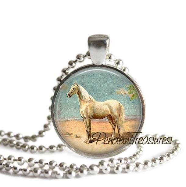 HORSE Art Pendant Necklace White Horse Jewelry, Horse Charm Handmade Glass Photo