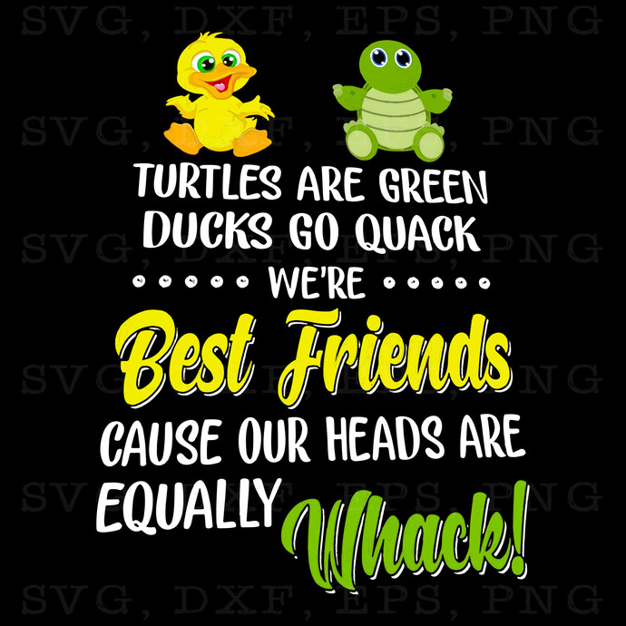 Turtles Are Green Ducks Go Quack We're Best Friend Cause Our Heads Are Equally