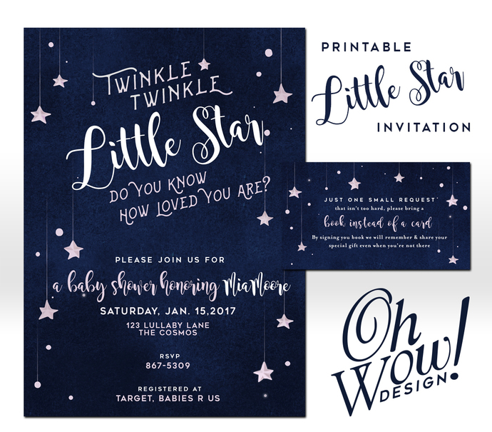 Twinkle Twinkle, Little Star, Little Prince, Theme Birthday Party Invitation: