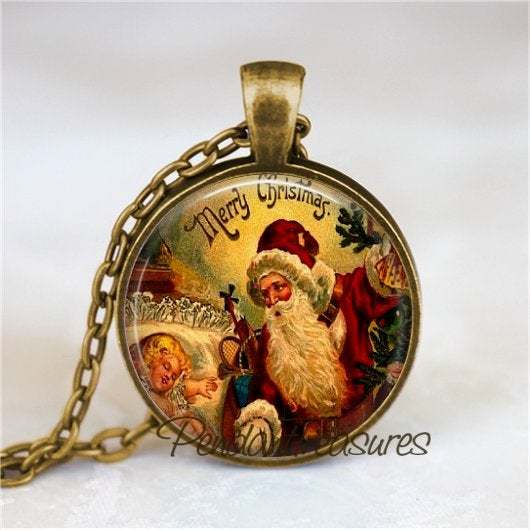Vintage Christmas Victorian Santa Claus Art  Handmade Pendant Necklace