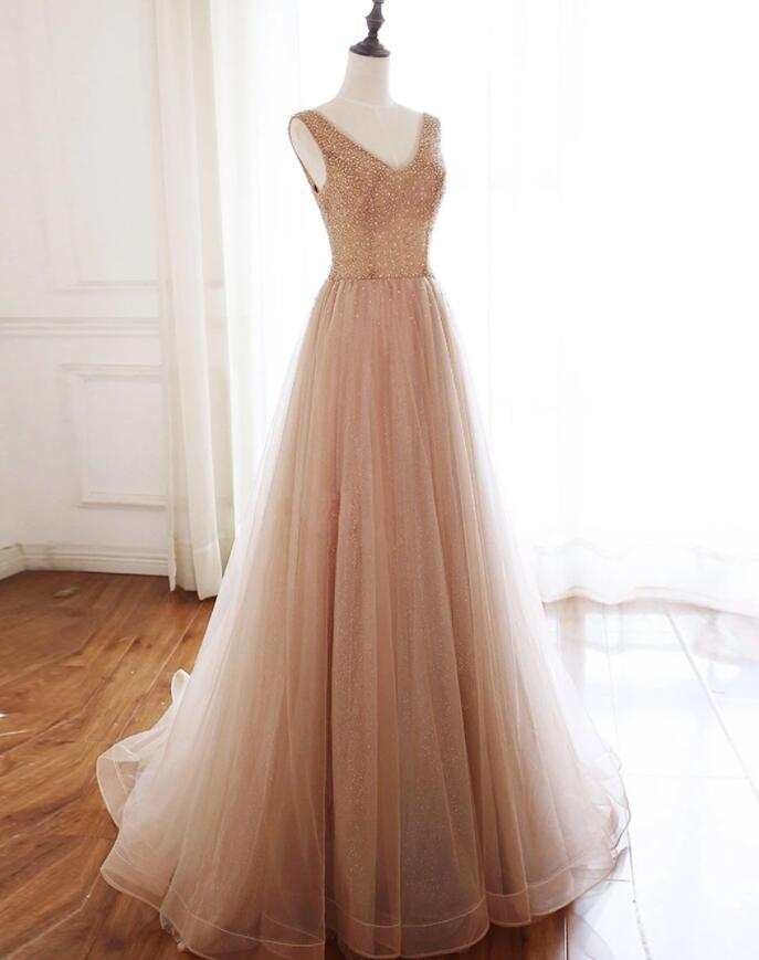 Elegant Champagne High Quality Beaded Long Prom Dress, Tulle Prom Dress
