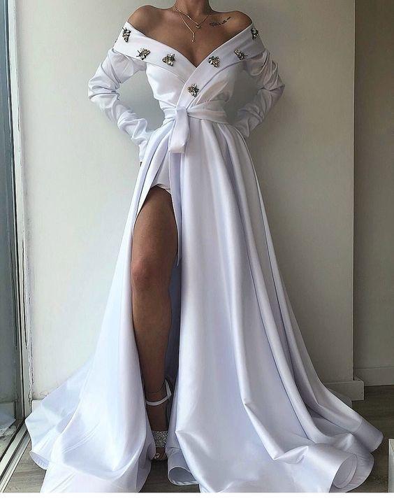 White i Off Shoulder Long Prom Dress With Split