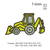 Backhoe embroidery design ;Backhoe Embroidery pattern No 908... 3 sizes