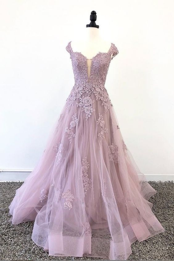 Tulle lace long prom dress, pink tulle lace evening dress