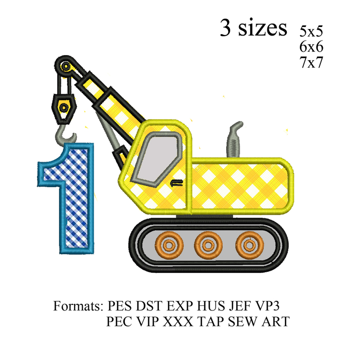 Crane Applique Embroidery Design Number 1 first birthday ,Embroidery  pattern No
