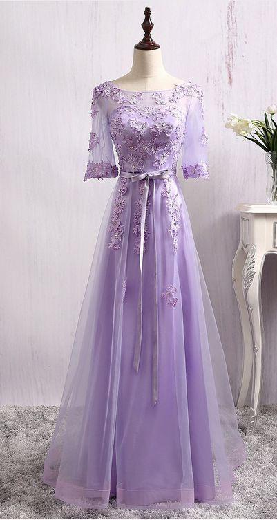Sheer Lace Appliqués A-line Floor-Length Prom Dress, Evening Dress With Sleeves