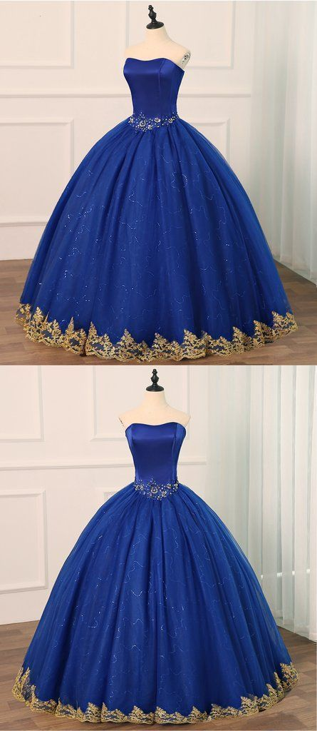 Prom Dress Ball Gown, Royal Blue Tulle Strapless Long Beaded Formal Prom Dress