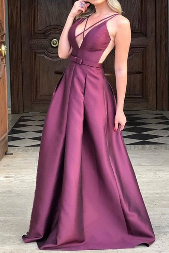 Straps V Neck Satin Long Prom Dress Formal Evening Gown