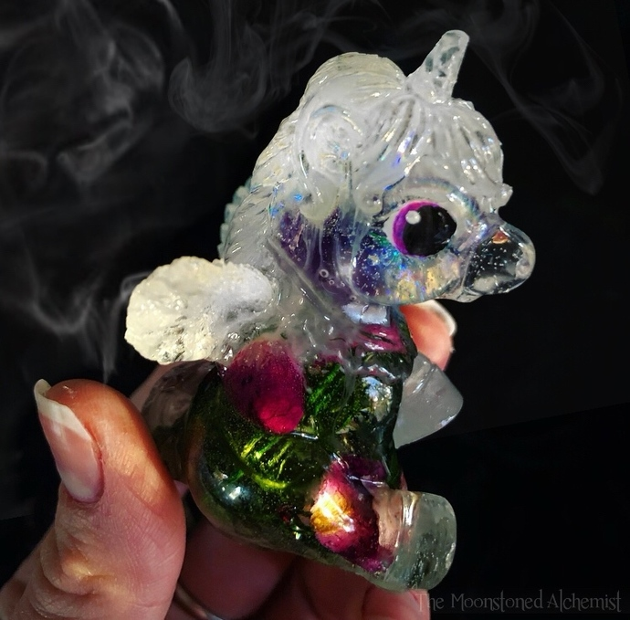 Botanical Baby Alicorn infused with Amethyst, rose petals, moss, & cosmic dust